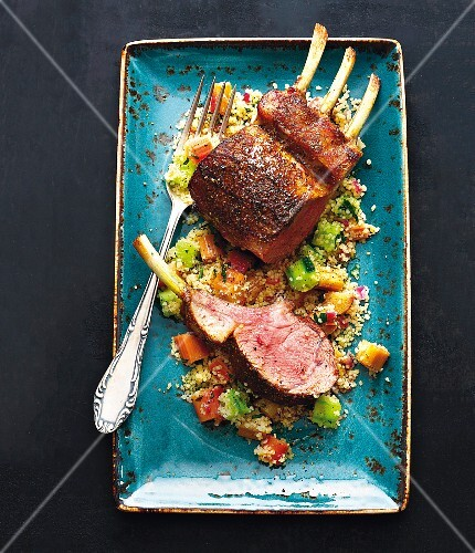 Saddle of lamb with rhubarb and cucumber couscous