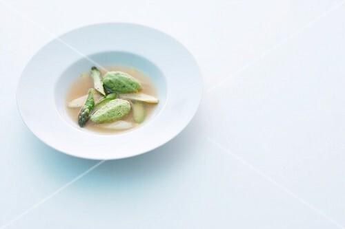 Asparagus essence with chive dumplings