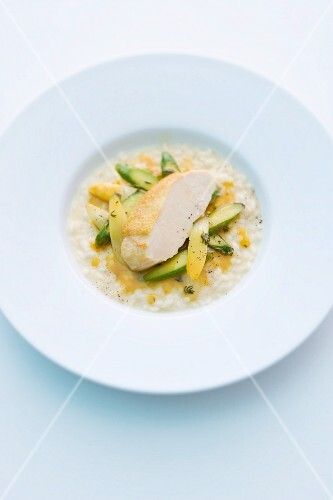 Corn-fed chicken breast on asparagus risotto