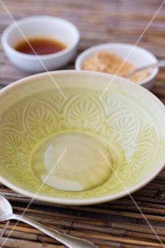 Mizu Shingen Mochi (Japanese raindrop cake) in a bowl