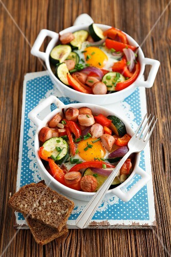 Sausage and vegetable bakes with fried eggs