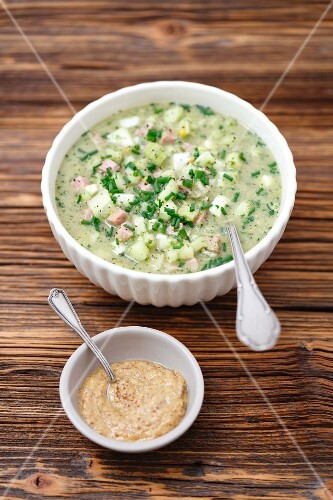 Okroszka - cold soup with cucumber, chives, mustard, ham and kvas (Russia)