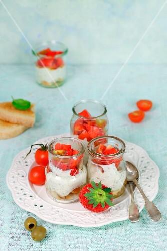 Bruschetta with strawberries and ricotta