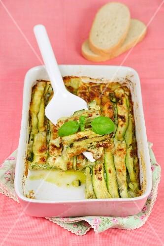 Courgette flan with pesto and mozzarella