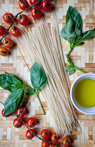 Ingredients for pasta with tomatoes and basil
