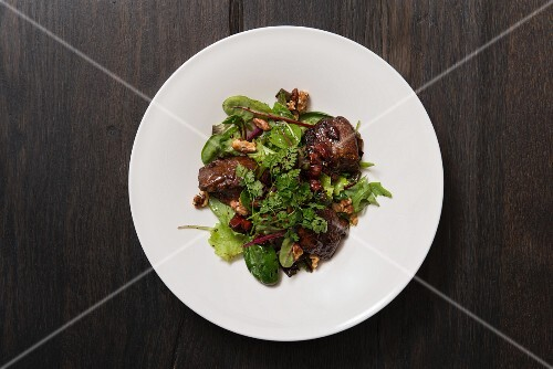 Chicken liver and wild herb salad with caramelised walnuts and chorizo
