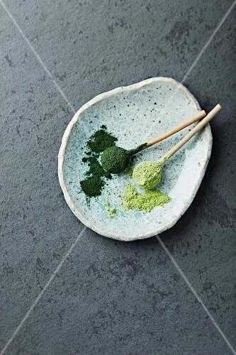 Organic chlorella and barley grass powder on ceramic spoons