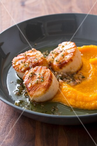 Pan-fried scallops with butternut squash purée