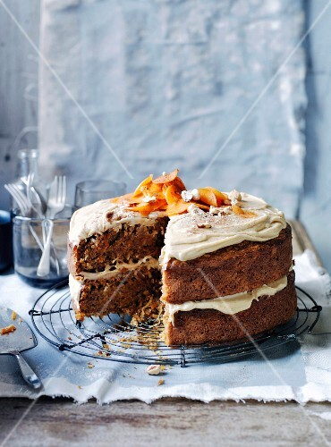 Ginger-carrot cake with salted butterscotch frosting