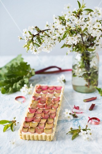 Coconut cream and poached rhubarb tart