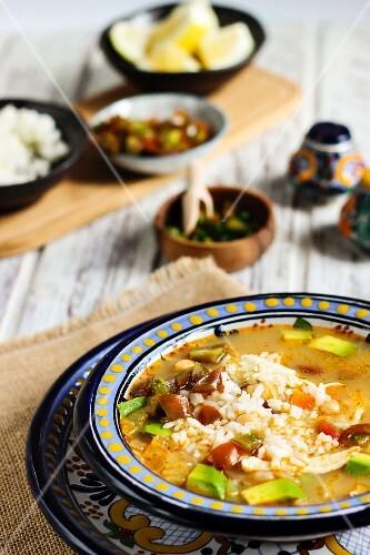 Caldo Tlalpeno (soup with chicken and avocado, Mexico)