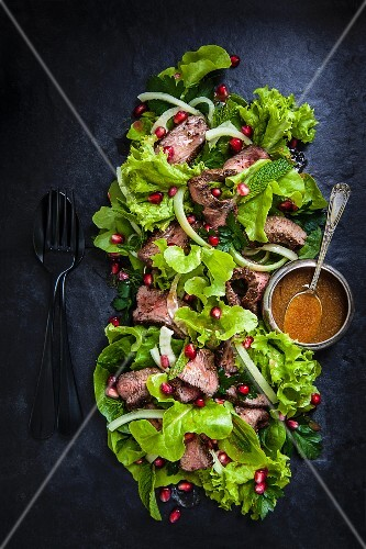 Venison and fennel salad with pomegranate seeds (seen from above)
