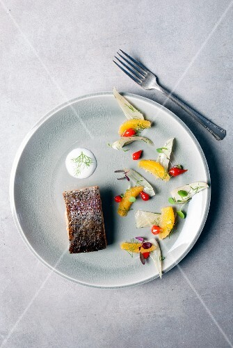 Grilled salmon with orange fillets