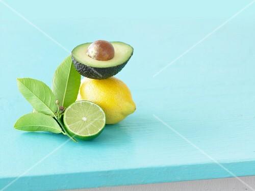 Half an avocado, a lemon and half a lime