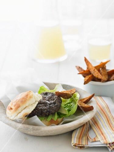Black bean burger with sweet potato chips