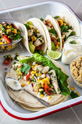 Fish tacos with couscous and corn salsa