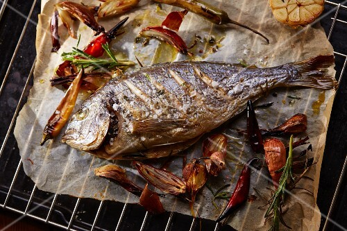 Sea bream on a cooking grid