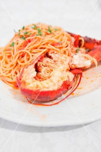 Spaghetti with lobster (Apulia, Italy)