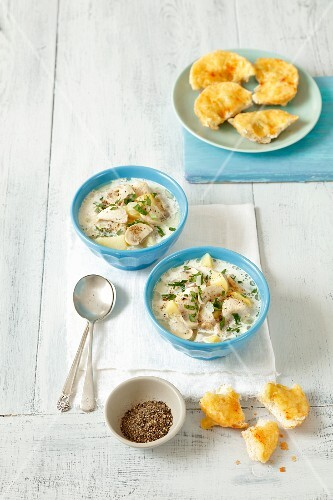 Mushroom and potato soup with cream and grilled rolls with Cheddar cheese