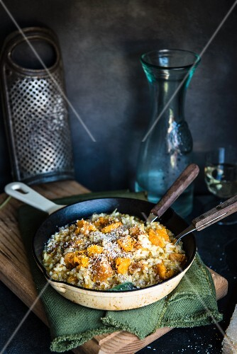 Risotto with butternut squash and parmesan cheese