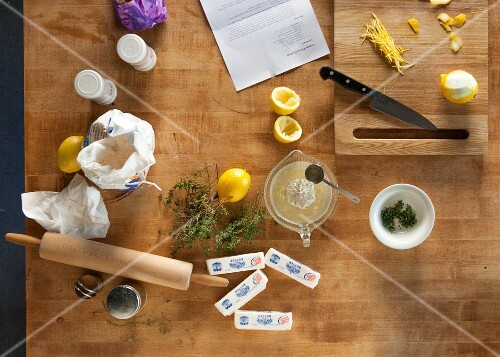 Ingredients for thyme butter biscuits seen from above