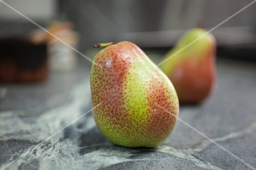 Pears on a marble surface