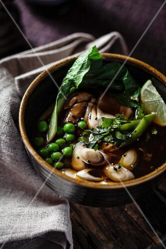 Vegetable soup with peas and bok choy