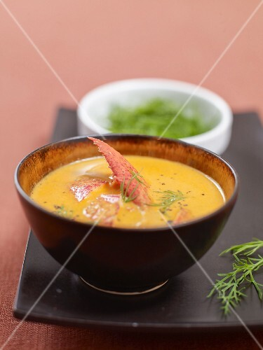 Cream of lobster soup with dill