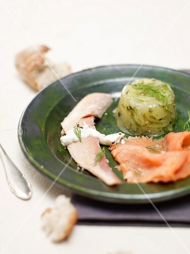 Cucumber aspic with smoked trout and smoked salmon