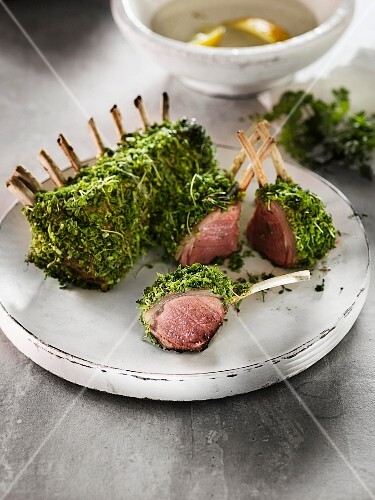 Rare rack of lamb in a herb coating