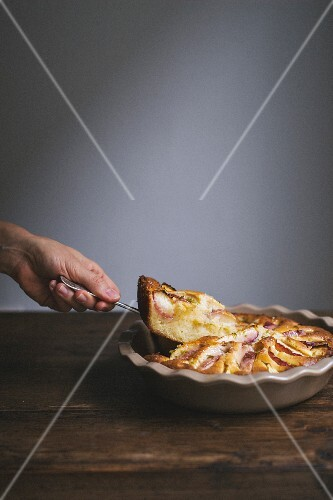 Sliced nectarine pie with a piece on a cake slice
