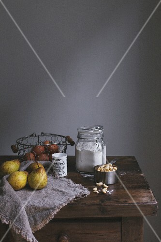 Ingredients for pear scones on a wooden table