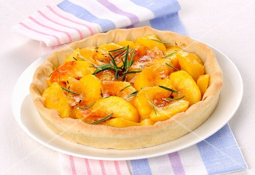 Crostata with peaches and rosemary