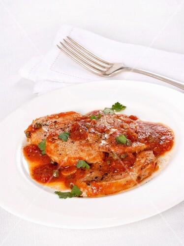 Beef steaks alla Pizzaiola (tomato sauce, Italy)