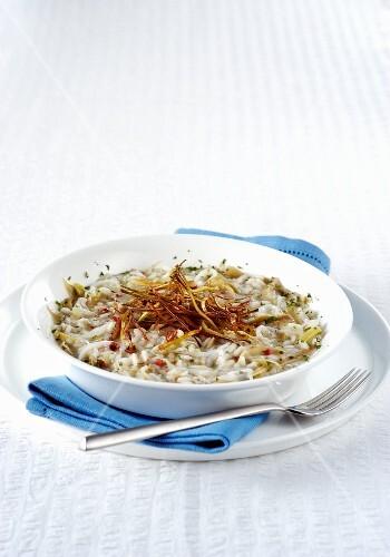 Risotto with artichokes and bianchetti whitebait