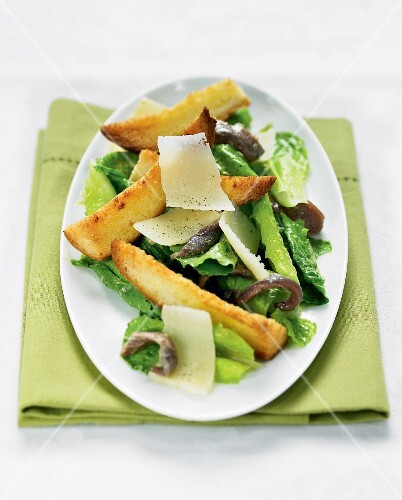 Caesar salad with crouton sticks, anchovies and Parmesan cheese