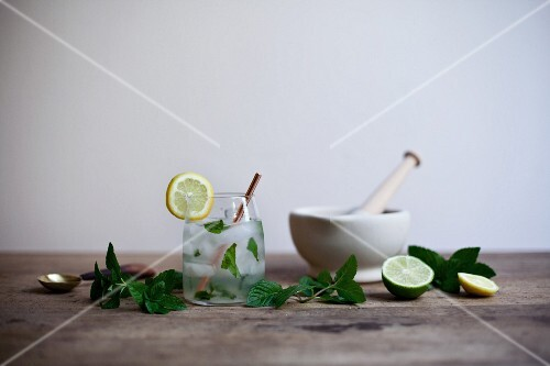 A mojito with mint, lime and lemon