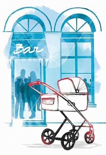 A pram standing outside a bar (illustration)