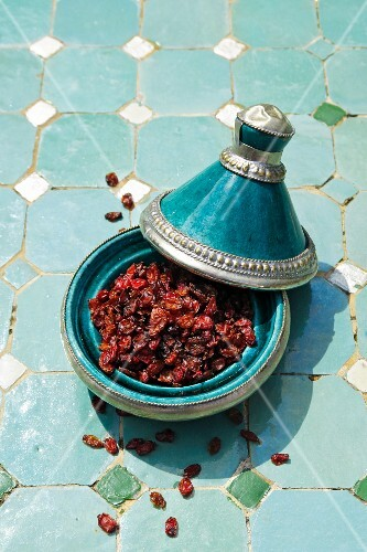 Dried barberries in a tagine