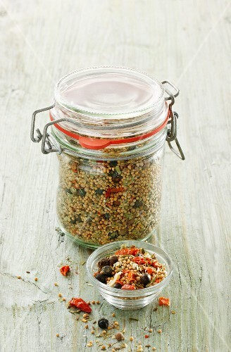 A mixture of preserved spices in a preserving jar