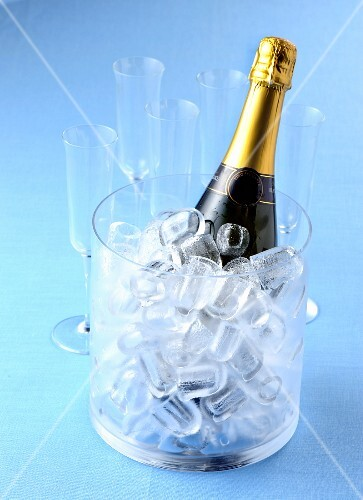 A bottle of sparkling wine in an ice bucket