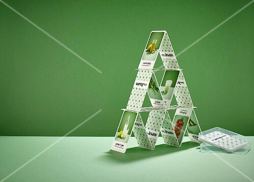 Superfood card house made from cards featuring healthy food