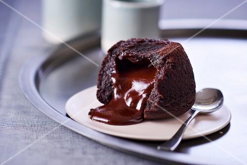 Fondant au chocolat, sliced