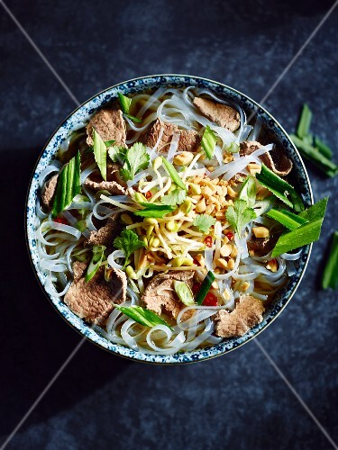 Pho glass noodles with beef, peanuts, coriander, chilli and spring onions (Vietnam)