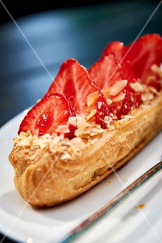 A strawberry and almond éclair
