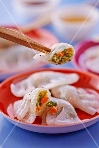 Oriental ravioli on rice flour