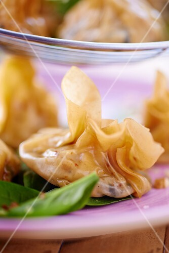 Wontons filled with spinach and feta cheese