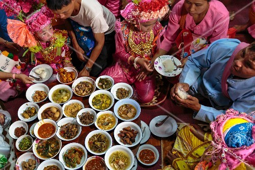 A festive meal for young future novices, Mae Hong Son, Thailand