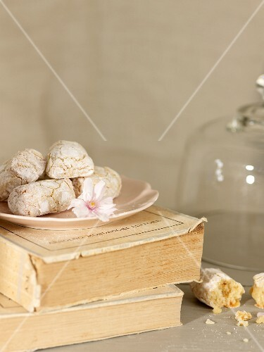 A plate of biscuits on old books