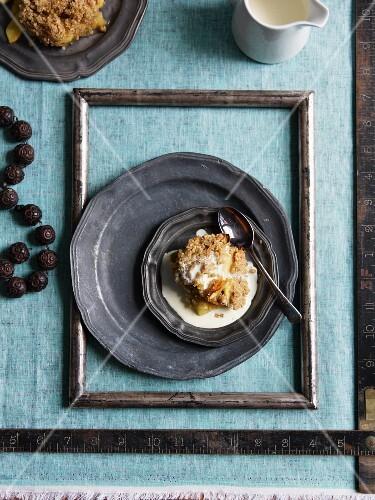 Fruit cobbler with cream